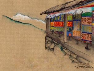 AQUARELLE PAR HERVE PICHOUX - MOULINS A PRIERES, NAMCHE BAZAAR, NEPAL